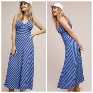 Maeve Fit Flare Striped V Neck Knit Maxi Dress